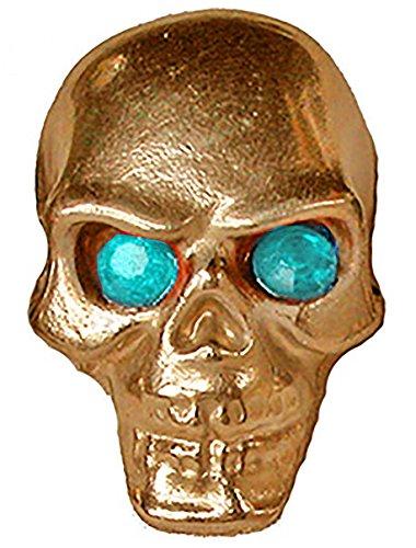 Gold Pinewood Derby Tungsten Skull Weight - Blue Jewel Eyes