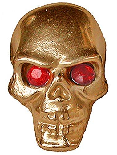 Gold Pinewood Derby Tungsten Skull Weight - Red Jewel Eyes