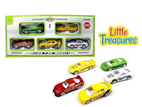 Little Treasures Alloy Car Models Sleek Vehicles - Assorted Bright Colored Die-Cast Racecars Set of 5