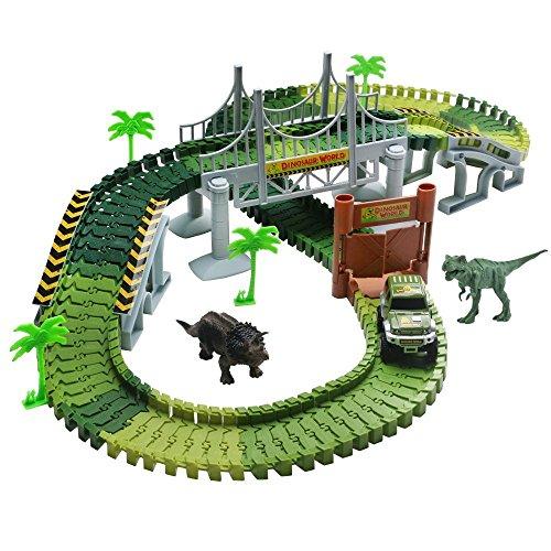 Lydaz Race Track Dinosaur World Bridge Create A Road 142 Piece Toy Car Flexible Track Playset Toy Cars 2 Dinosaurs