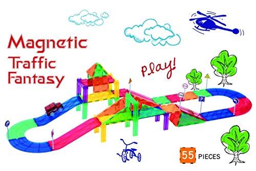Mag-Genius Ultimate Racing 55 Piece Magnet Racing Set Includes 8 Bonus Magnetic Road Signs 2 Bonus People Toy Race Track Set