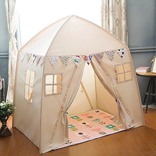 love tree Kids Indoor Princess Castle Play TentsOutdoor Large Playhouse Secret Garden Play Tent - Portable for Indoor and Outdoor Fun Plays Beige One