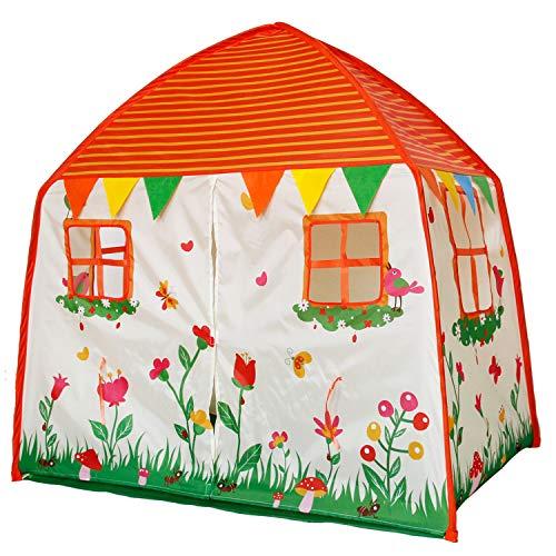 Homfu Kids Tent Children Gift for Indoor Outdoors Play Toddler Garden Toys Princess Tents for Boys and Girls Garden Orange