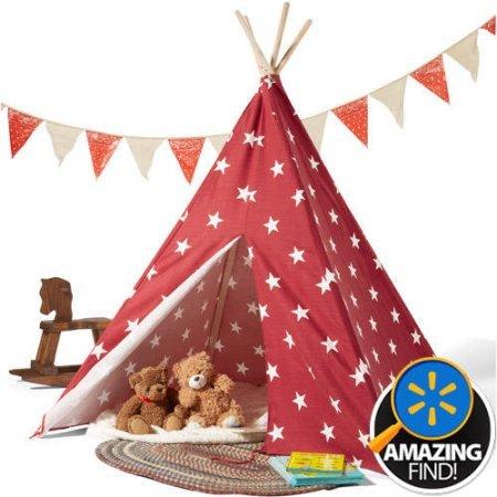 Childrens Teepee Tent RedWhite Stars
