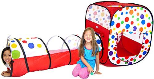 eWonderWorld 2 Pc Polka Dot Theme Pop Up Ball Pit Kids Play Tent Tunnel with Mesh Windows Carrying Bag