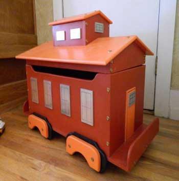 Caboose Wooden Toy Box Storage Chest