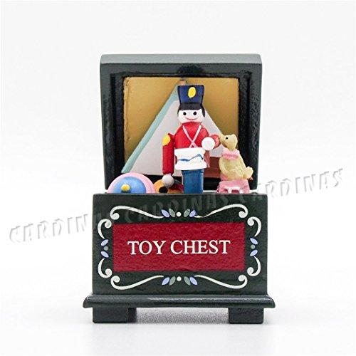 Odoria 112 Miniature Vintage Green Wooden Toy Chest Box Dollhouse Decoration Accessories