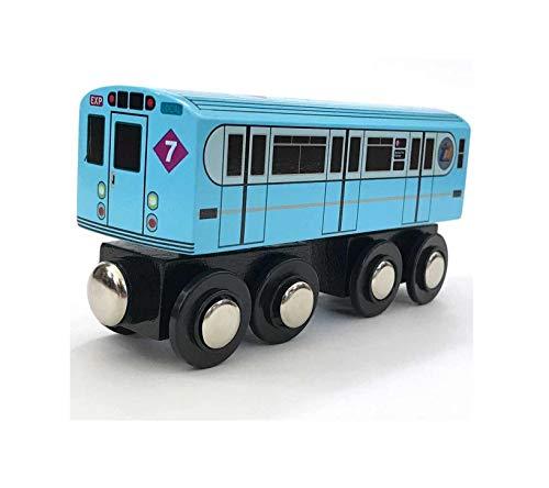 Munipals Wooden MP01-11BB NYC MTA Subway 7 Train Car Worlds Fair Express Bluebird R33WF
