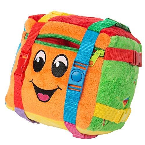 BUCKLE TOY Bingo Activity Cube - Toddler Early Learning Basic Life Skills Childrens Travel Plush