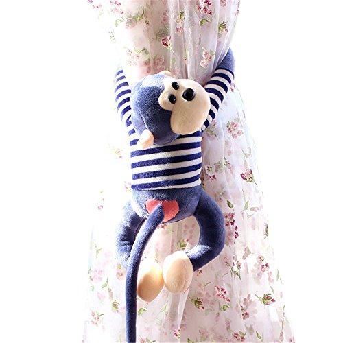 Remeehi Creative Monkey Mascot Plush Toy Doll Stuffed Pillow Cushion Gibbons Home Curtain Buckle Christmas Birthday Gift Blue