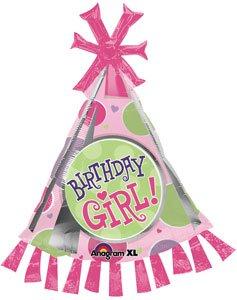 35 Birthday Girl Party Hat Shape Mylar Foil Balloon - Pack of 5