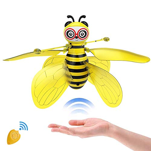 CORATED Flying Ball Toys Bee Flying RC Toy for Kids Boys Girls Gifts Rechargeable Light Up Drone Infrared Induction Helicopter with Remote Controller for Indoor and Outdoor Games