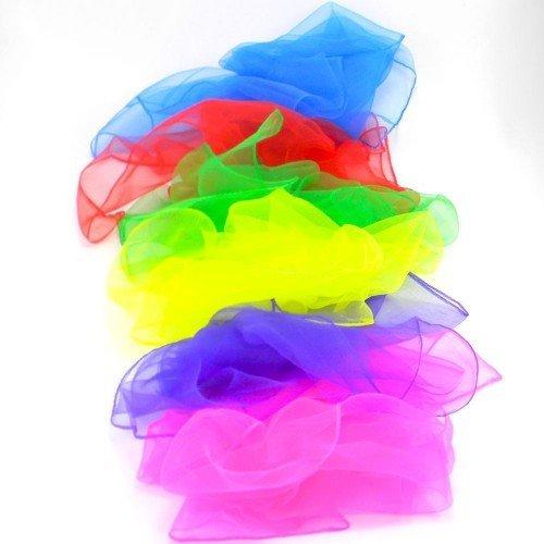 6 x Large Juggling Scarves - Light Chiffon Sensory Scarves 60cm x 60cm and Cascade Juggling Bag - Mixed Colours by Juggle Dream and Cascade Juggling