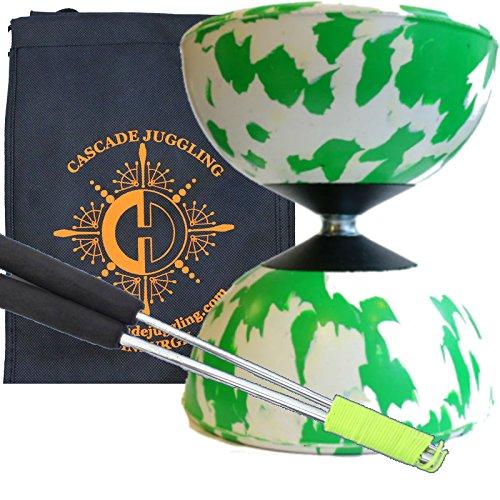 Green White Mr B Harlequin Diabolo Metal Sticks - Pro Rubber Diablo Set with Cascade Juggling Bag