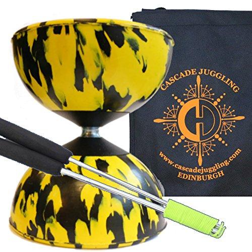 Yellow Black Mr B Harlequin Diabolo Metal Sticks - Pro Rubber Diablo Set with Cascade Juggling Bag