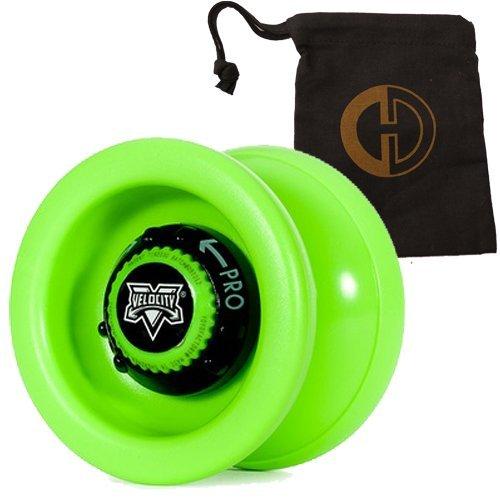 YoYo Factory Velocity YoYo - Quality Pro Responsive Unresponsive Yo-Yo with String and Cascade Juggling Bag Green by Yo Yo Factory