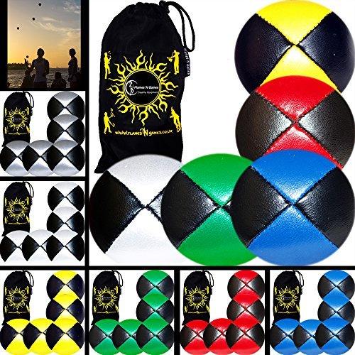 5x Pro Thud Juggling Balls LEATHER Professional Juggling Balls Set of 5  Travel Bag BlackSilver by Flames N Games Juggling Balls