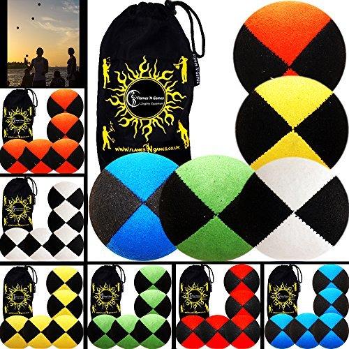 5x Pro Thud Juggling Balls SUEDE Professional Juggling Balls Set of 5  Travel Bag BlackYellow by Flames N Games Juggling Balls