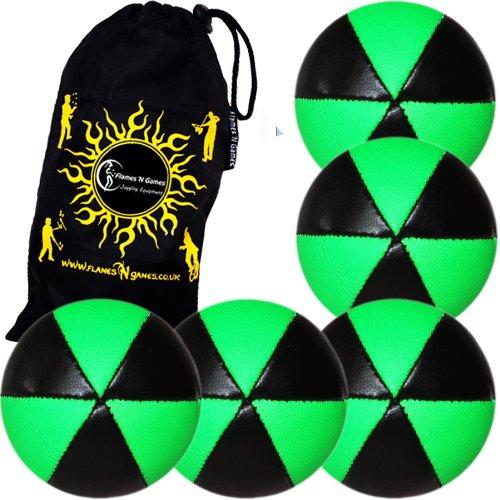 Flames N Games ASTRIX UV Thud Juggling Balls set of 5 BLACKGREEN Pro 6 Panel Leather Juggling Ball Set Travel Bag
