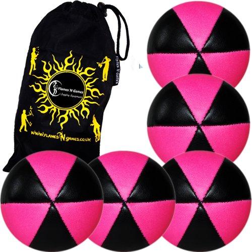 Flames N Games ASTRIX UV Thud Juggling Balls set of 5 BLACKPINK Pro 6 Panel Leather Juggling Ball Set Travel Bag