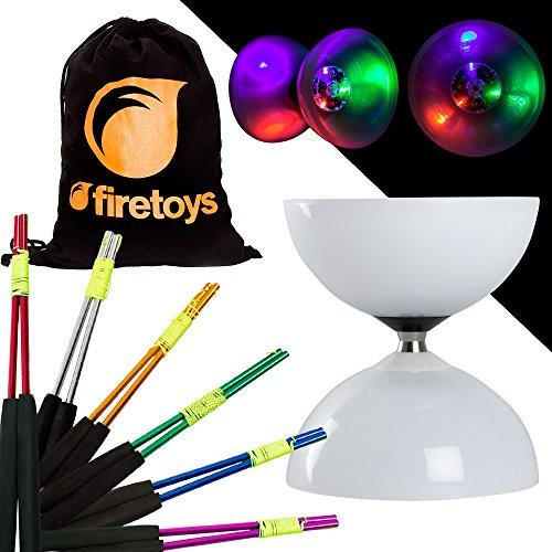 Juggle Dream LED Big Top Bearing Diabolo Set with Coloured Aluminium Diablo Sticks Firetoys Cotton Bag Select Stick Colour Batteries Inc