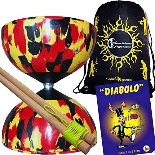 Mr Babache Harlequin Diabolo Set - BlackRedYellow With Wooden Diablo sticks Mr Babache Diabolo Book of Tricks  Flames N Games FABRIC Diabolo Travel Bag