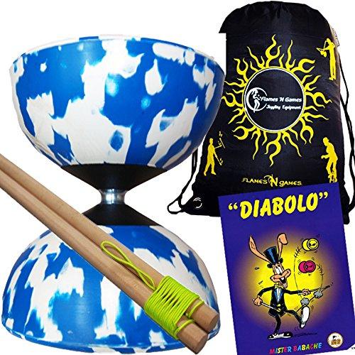Mr Babache Harlequin Diabolo Set - BlueWhite With Wooden Diablo sticks Mr Babache Diabolo Book of Tricks  Flames N Games FABRIC Diabolo Travel Bag
