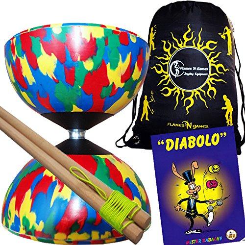 Mr Babache Harlequin Diabolo Set - Mix With Wooden Diablo sticks Mr Babache Diabolo Book of Tricks  Flames N Games FABRIC Diabolo Travel Bag