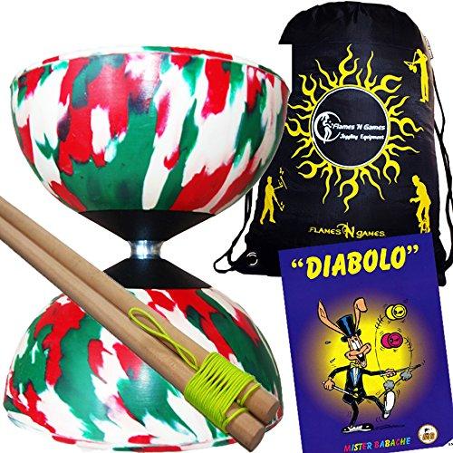 Mr Babache Harlequin Diabolo Set - WRG With Wooden Diablo sticks Mr Babache Diabolo Book of Tricks  Flames N Games FABRIC Diabolo Travel Bag