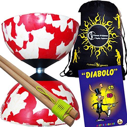 Mr Babache Harlequin Diabolo Set - WhiteRed With Wooden Diablo sticks Mr Babache Diabolo Book of Tricks  Flames N Games FABRIC Diabolo Travel Bag