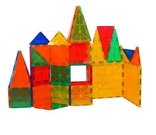 Mag-Genius Award Winning building Magnet Tiles Blocks Clear Colors 3D Brain Building Blocks Set Of 60 Piece by Mag-Genius