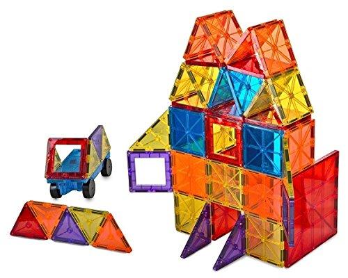 Mag-Genius Award Winning building Magnet Tiles Blocks Clear Colors 3D Brain Building Blocks Set of 108  15 extra piece set13 clickins bonus Includes 2 Cars And Free Storage Bin AGE 3