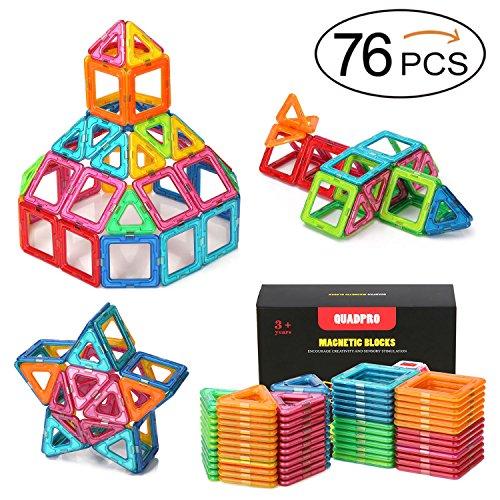 Quadpro 76 Piece Magnetic Blocks Building Toys For Boys Girls Magnet Tiles Kits For Kids