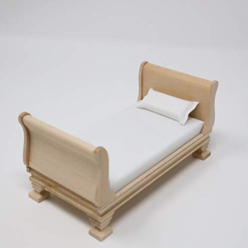 Dollhouse Miniature Unfinished Sleigh Bed with Mattress Miniature Sleigh Bed Dollhouse Bed 112 Scale Furniture