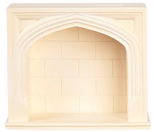 Houseworks Ltd Dolls House Miniature 112 Scale Furniture Cream Resin Tudor Fireplace