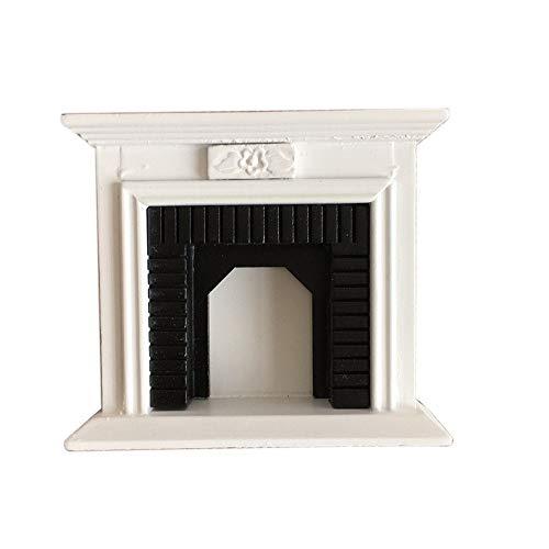 SXFSE Dollhouse Decoration Accessories112 Dollhouse Miniature Furniture Room Wooden Vintage Black White Fireplace