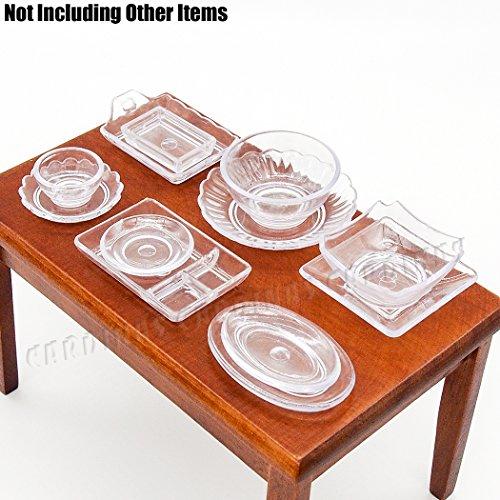 Odoria 112 Miniature 12PCS Cookware Set Clear Tableware Kit Plate Dish Bowl Dollhouse Kitchen Accessories