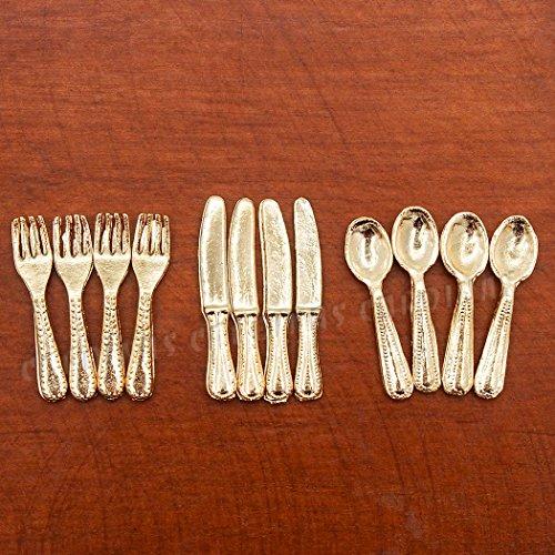 Odoria 112 Miniature 12PCS Knife Fork Spoon Set Golden Flatware Dollhouse Kitchen Accessories