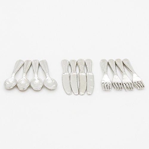 Odoria 112 Miniature 12PCS Knife Fork Spoon Set Silverware Dollhouse Kitchen Accessories