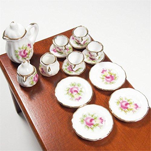 Odoria 112 Miniature 15PCS Pink Rose Chintz with Golden Trim Tea Cup Set Porcelain Tableware Dollhouse