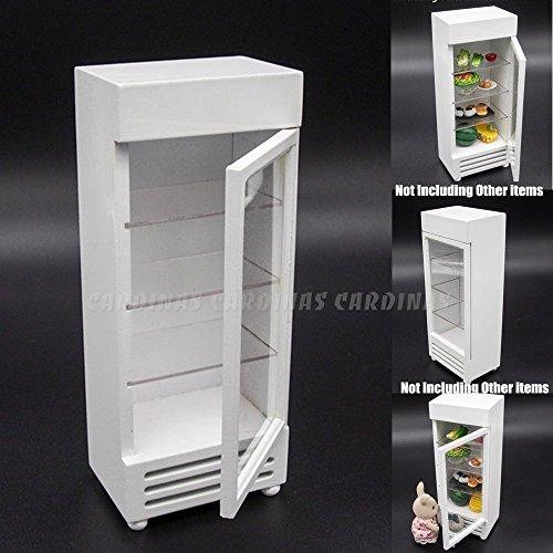 Odoria 112 Miniature White Refrigerator Fridge with Clear Door Dollhouse Furniture Accessories