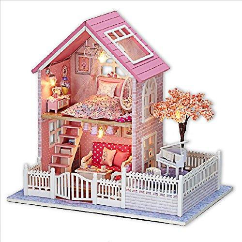 Rylai Wooden Handmade Dollhouse Miniature DIY Kit - Pink Cherry Blossoms Series Miniature Scene Wooden Dollhouses FurnitureParts124 Scale Dollhouse