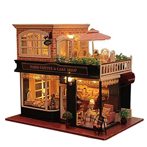 Rylai Wooden Handmade Dollhouse Miniature DIY Kit - Romantic Cafe Series Wooden Dollhouses FurnitureParts124 Scale Dollhouse
