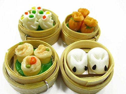 Set of 4 Dim Sum Chinese Cuisine Handmade Dollhouse Miniatures Food 13796