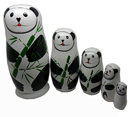 ANKKO 5pcs Lovely Panda Wooden Russian Doll Matryoshka Nesting Dolls