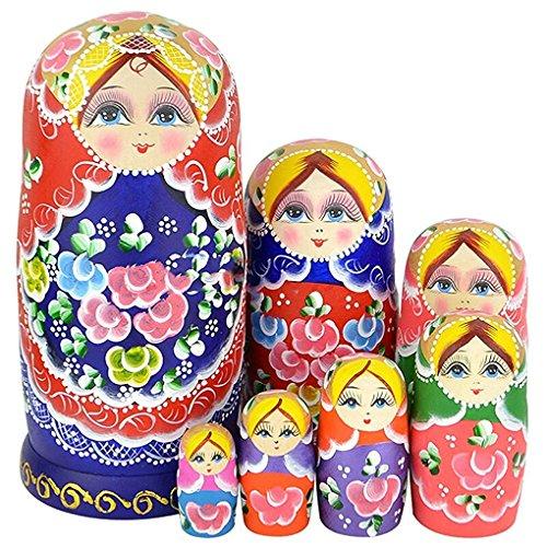 WALAIKA 7pcs Blue Belly Beautiful Girl Russian Nesting Dolls Handmade Wooden Matryoshka Toys