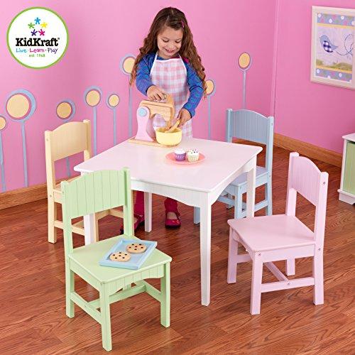 KidKraft Nantucket Table 4 Pastel Chairs