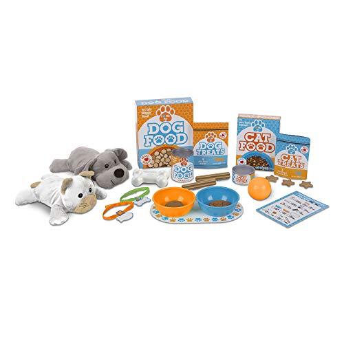 Melissa Doug Feed Play Pet Treats Play Set With 2 Plush Stuffed Animals 26 pcs