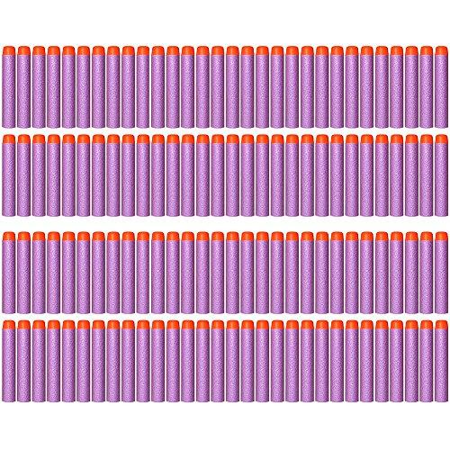 AMOSTING 100 PCS Foam Darts Universal Standard Refill Soft 284in 72cm Round Head Bullet Pack for Most Nerf N-strike Elite etc Series Blasters Toy Hand Gun - Purple