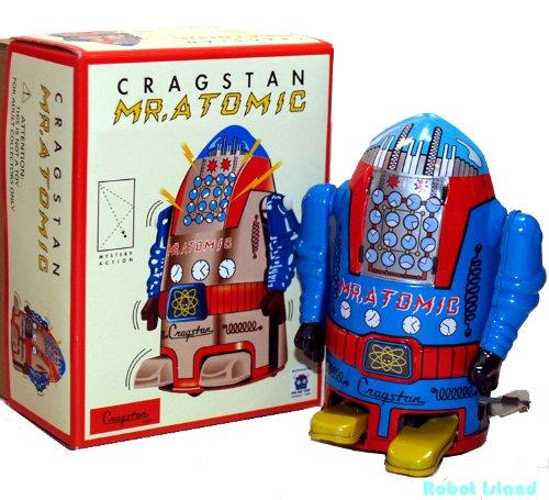 Mr Atomic Robot Tin Toy Windup Blue